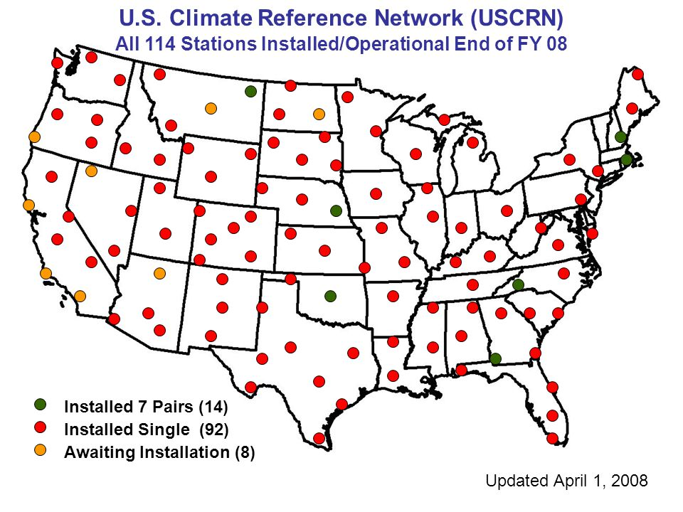 U.S. Climate Reference Network (USCRN) All 114 Stations Installed/Operational End of FY 08 Installed 7 Pairs (14) Installed Single (92) Awaiting Insta