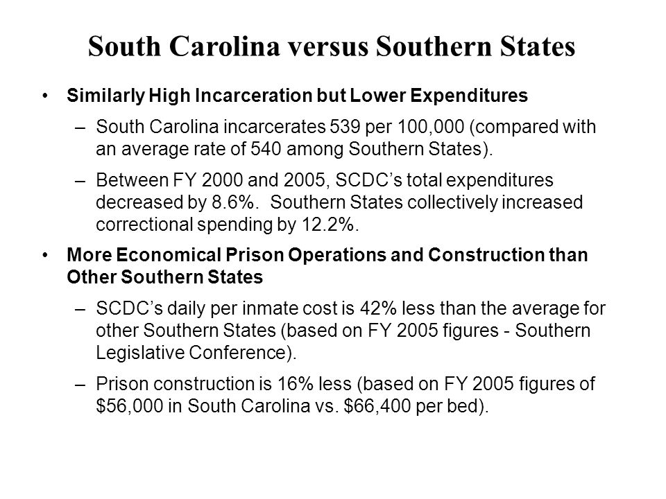 Similarly High Incarceration but Lower Expenditures –South Carolina incarcerates 539 per 100,000 (compared with an average rate of 540 among Southern States).