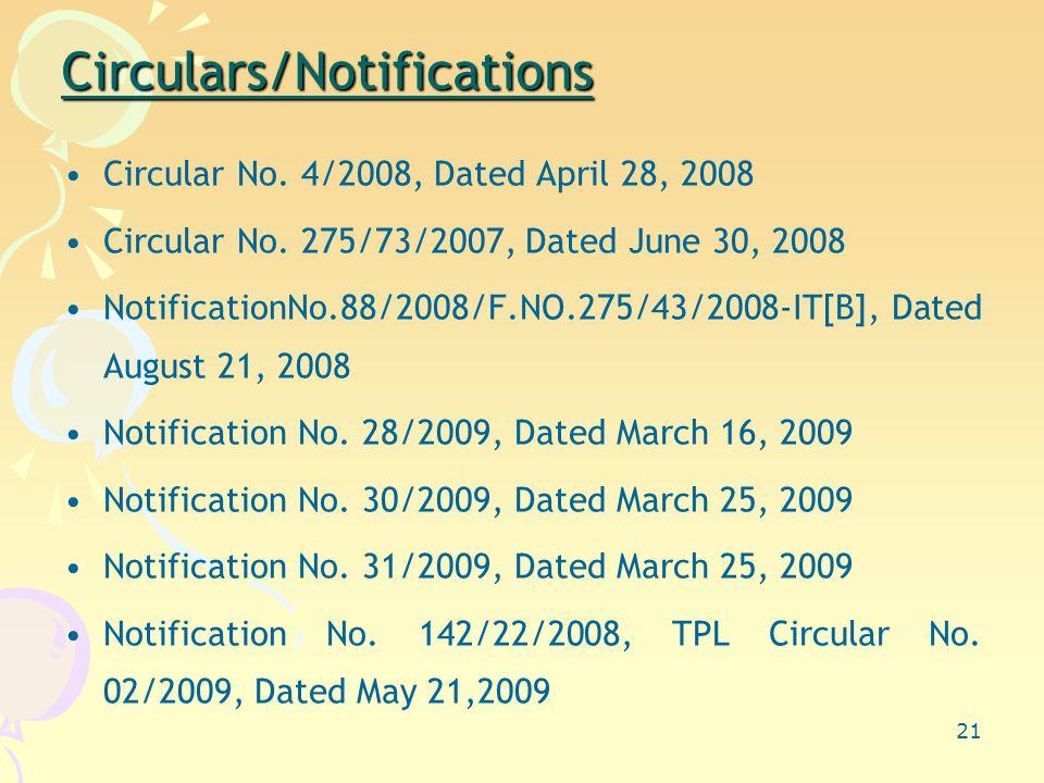 21 Circulars/Notifications Circular No. 4/2008, Dated April 28, 2008 Circular No.