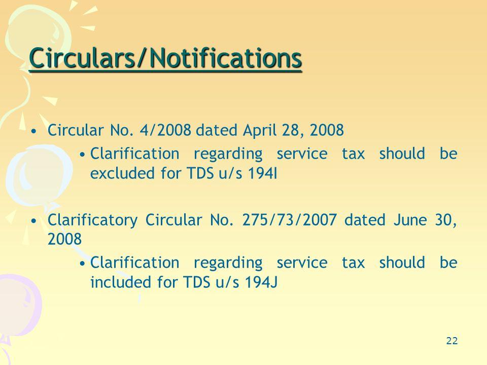 22 Circulars/Notifications Circular No.