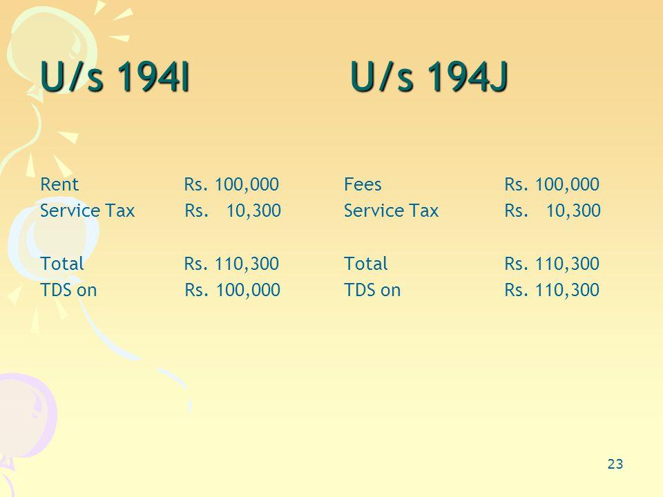 23 U/s 194I U/s 194J Rent Rs. 100,000 Service Tax Rs.