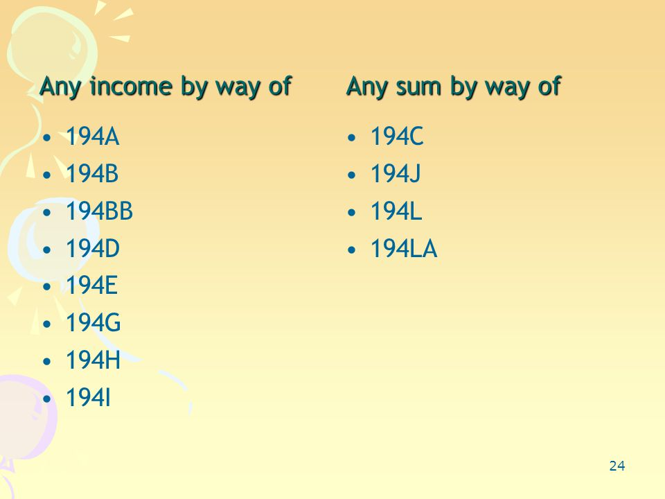 24 Any income by way of Any sum by way of 194A 194B 194BB 194D 194E 194G 194H 194I 194C 194J 194L 194LA
