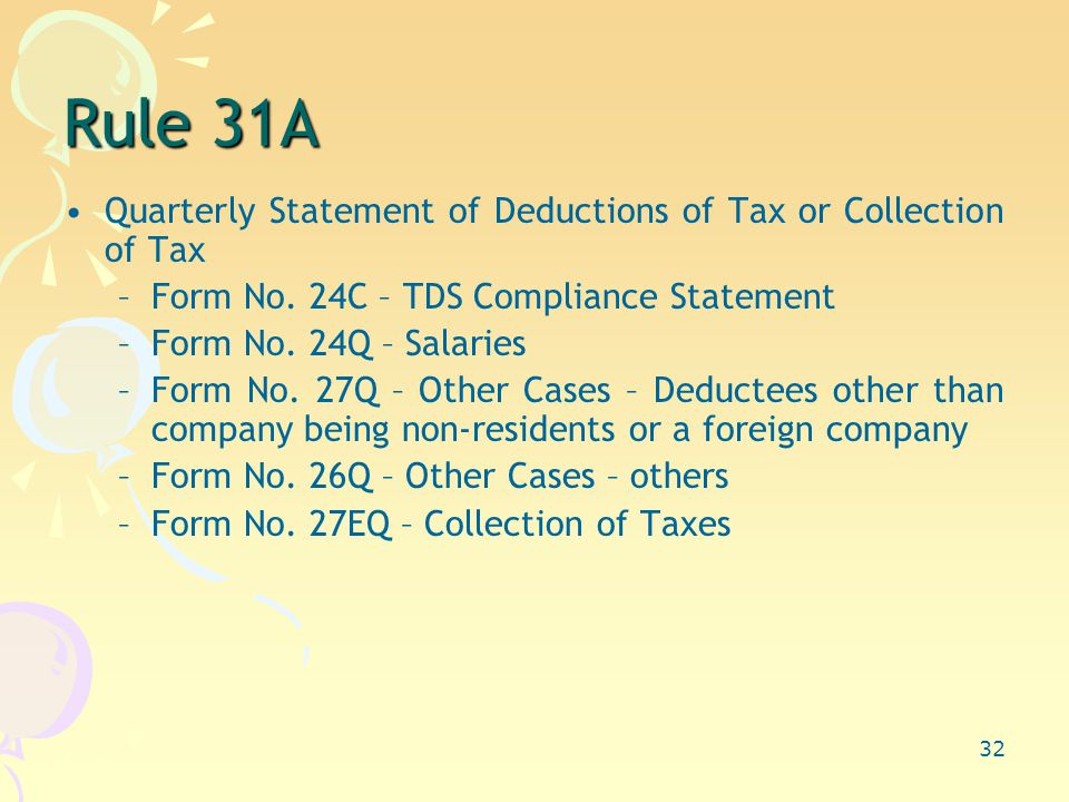 32 Rule 31A Quarterly Statement of Deductions of Tax or Collection of Tax –Form No.