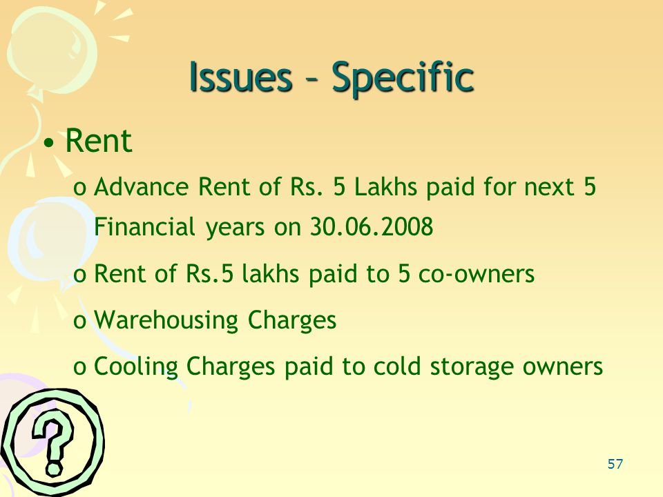 57 Issues – Specific Rent oAdvance Rent of Rs.