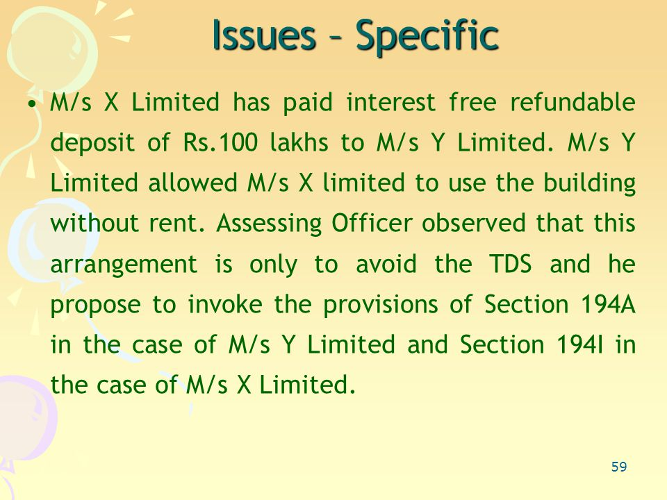 59 Issues – Specific M/s X Limited has paid interest free refundable deposit of Rs.100 lakhs to M/s Y Limited.