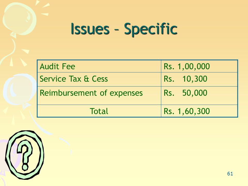 61 Issues – Specific Audit FeeRs.1,00,000 Service Tax & CessRs.