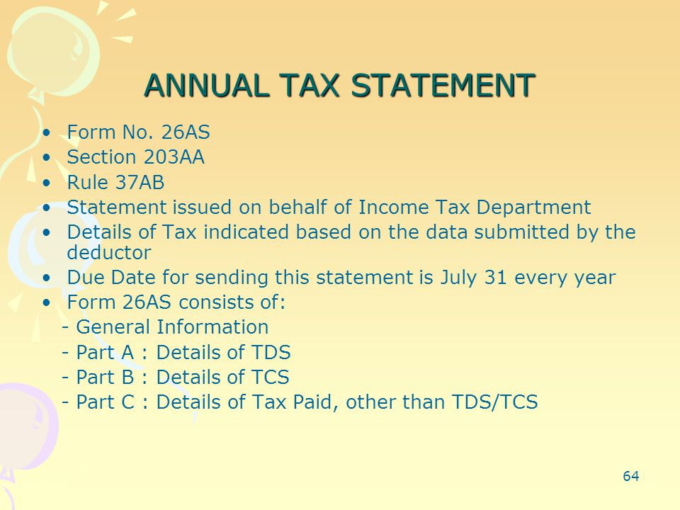 64 ANNUAL TAX STATEMENT Form No.
