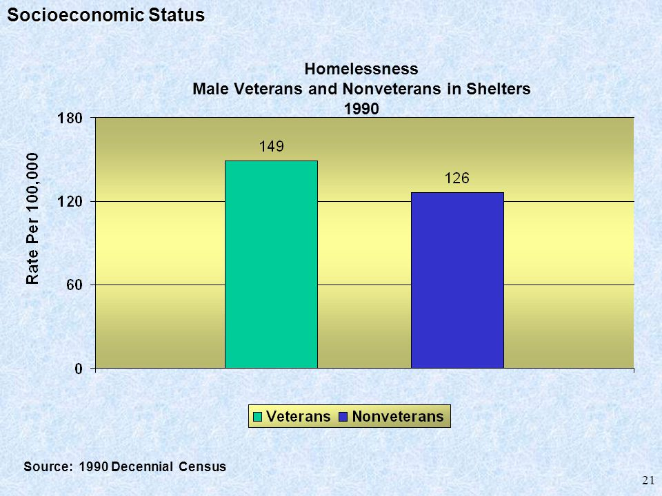 21 Homelessness Male Veterans and Nonveterans in Shelters 1990 Source: 1990 Decennial Census Socioeconomic Status
