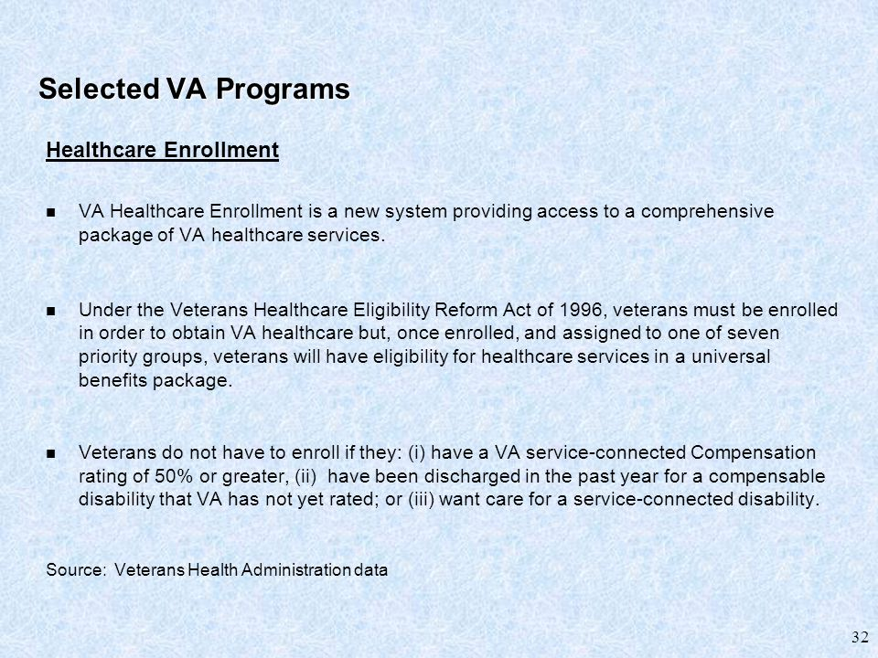 32 Selected VA Programs Healthcare Enrollment VA Healthcare Enrollment is a new system providing access to a comprehensive package of VA healthcare services.