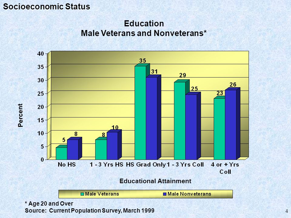 Special Needs Veterans Poverty: In March 1990, only 5.7% of all veterans were at or below the poverty level compared to 9.1% of all adult U.S.
