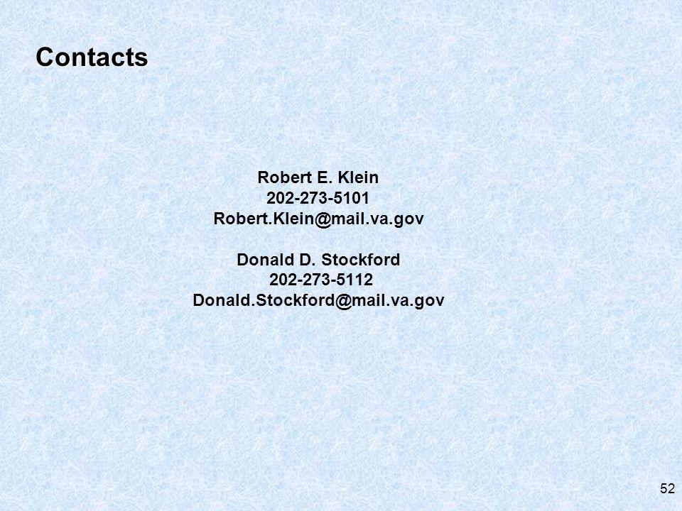 Robert E. Klein 202-273-5101 Robert.Klein@mail.va.gov Donald D.