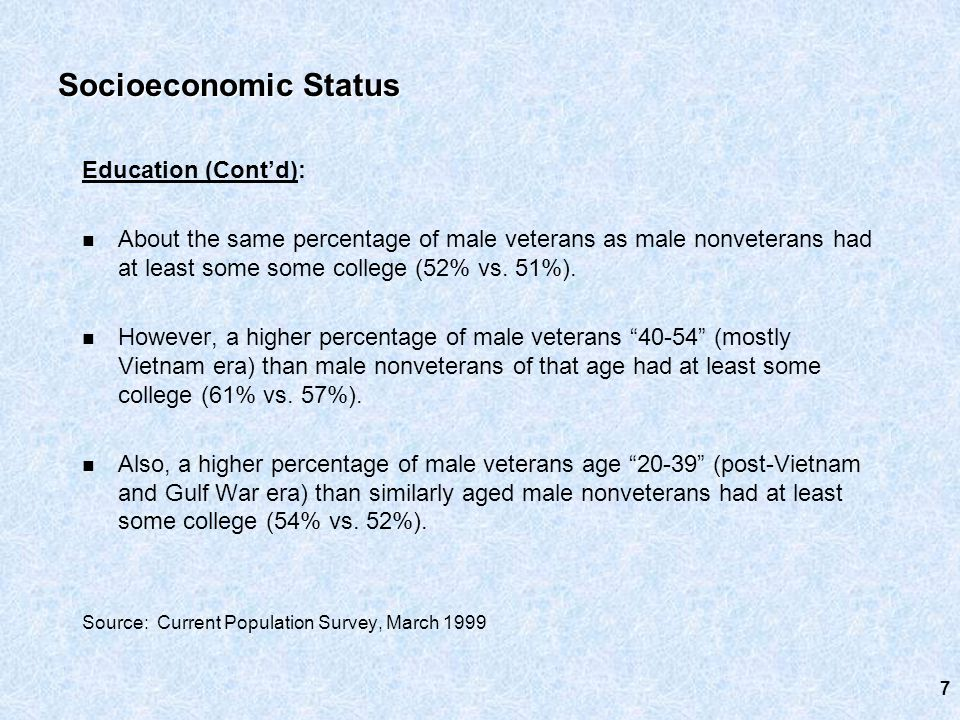 Education (Cont'd): About the same percentage of male veterans as male nonveterans had at least some some college (52% vs.