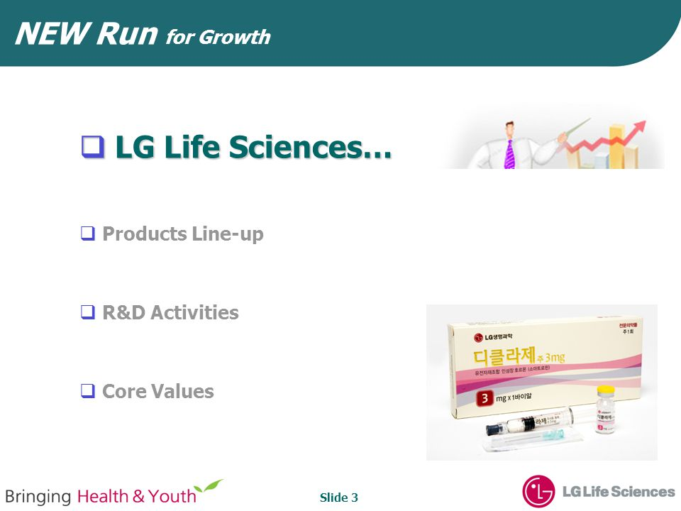 Slide 4 History & Growth Pathway 1983 1994 2002 2006 2011 Bio Research NCE Research Building-upBuilding-up Gearing-upGearing-up First launch of bio- pharmaceuticals in Korea (Interferon, hGH) Strategic alliance Euvax B, Eutropin Zanidip, Eutropin Out-licensing R&D productivity Sales efficiency Global products Innovative R&D Factive, out- licensed to SB Strategic alliance with BioPartners Marketing alliance with Novartis(Korea) Caspase inhibitor, out-licensed to Gilead Bio research Acquired AN- JIN Pharm corp.
