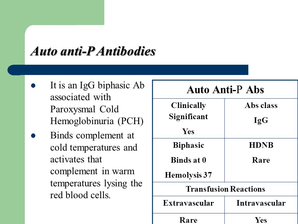 Auto anti-P Antibodies It is an IgG biphasic Ab associated with Paroxysmal Cold Hemoglobinuria (PCH) Binds complement at cold temperatures and activat