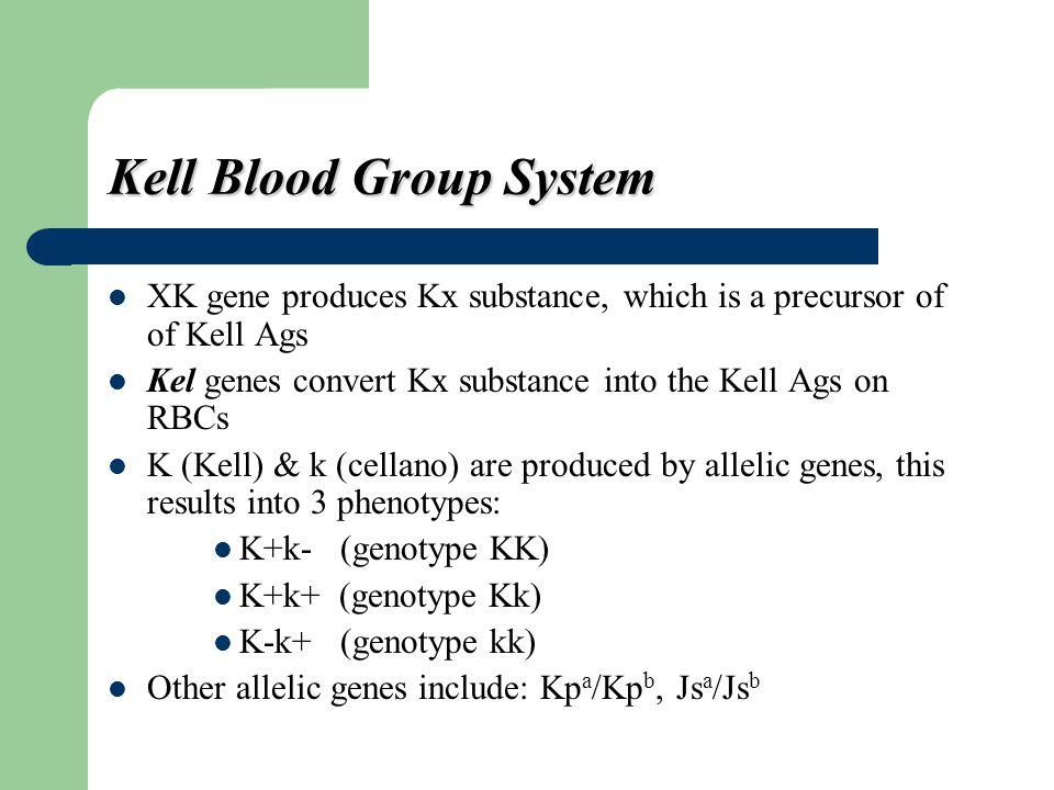 Kx XK Gene (Chromosome X) Kell system glycoprotein: Kell Ag's reside here. KEL Gene RBC