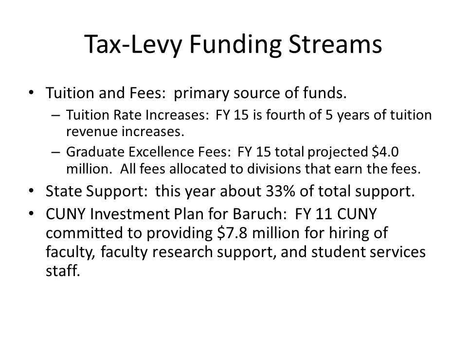Tax-Levy Funding Streams Tuition and Fees: primary source of funds.