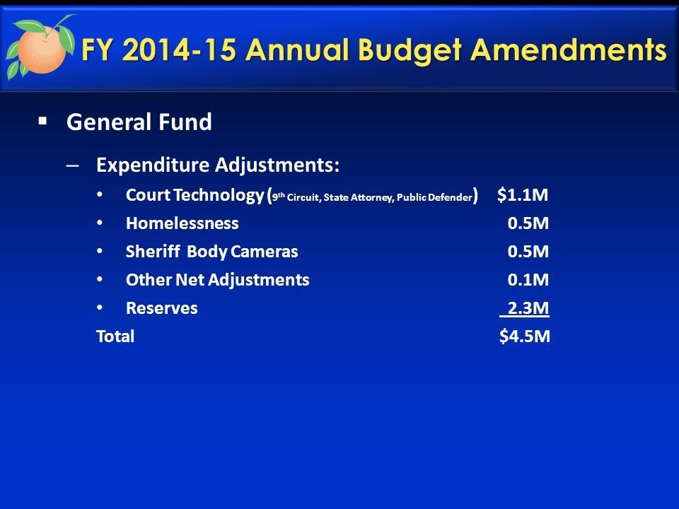 FY 2014-15 Annual Budget Amendments  General Fund – Expenditure Adjustments: Court Technology ( 9 th Circuit, State Attorney, Public Defender ) $1.1M Homelessness 0.5M Sheriff Body Cameras 0.5M Other Net Adjustments 0.1M Reserves 2.3M Total $4.5M