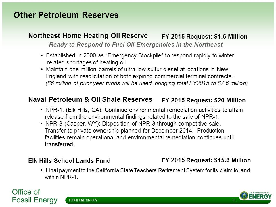 Other Petroleum Reserves 13 Northeast Home Heating Oil Reserve Ready to Respond to Fuel Oil Emergencies in the Northeast Established in 2000 as Emergency Stockpile to respond rapidly to winter related shortages of heating oil Maintain one million barrels of ultra-low sulfur diesel at locations in New England with resolicitation of both expiring commercial terminal contracts.
