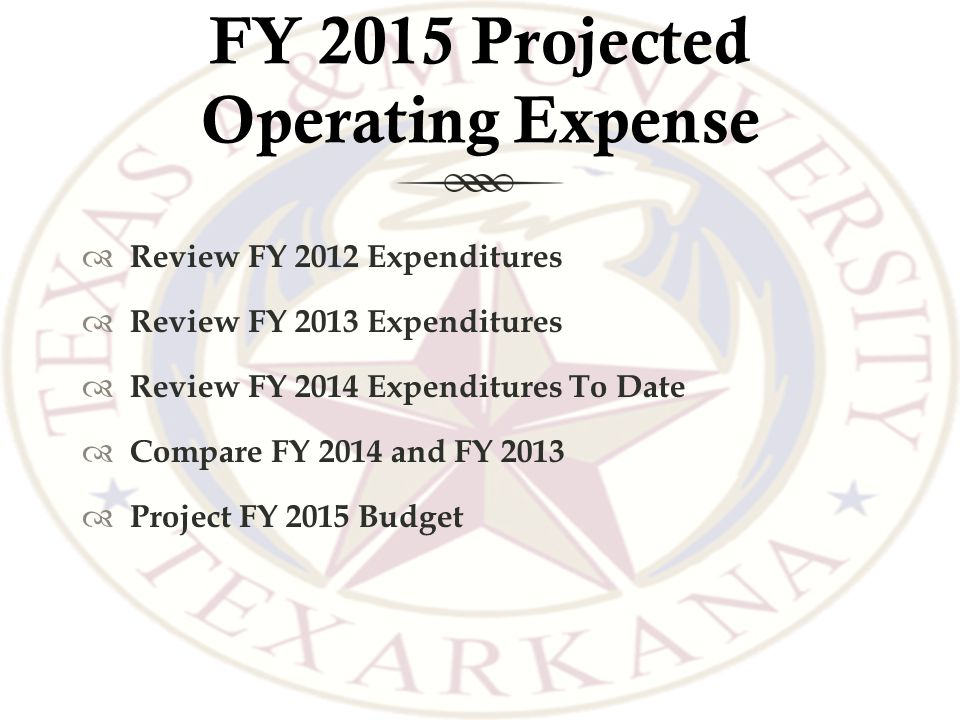 FY 2015 Projected Operating Expense  Review FY 2012 Expenditures  Review FY 2013 Expenditures  Review FY 2014 Expenditures To Date  Compare FY 2014 and FY 2013  Project FY 2015 Budget