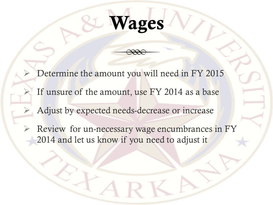 Wages  Determine the amount you will need in FY 2015  If unsure of the amount, use FY 2014 as a base  Adjust by expected needs-decrease or increase  Review for un-necessary wage encumbrances in FY 2014 and let us know if you need to adjust it
