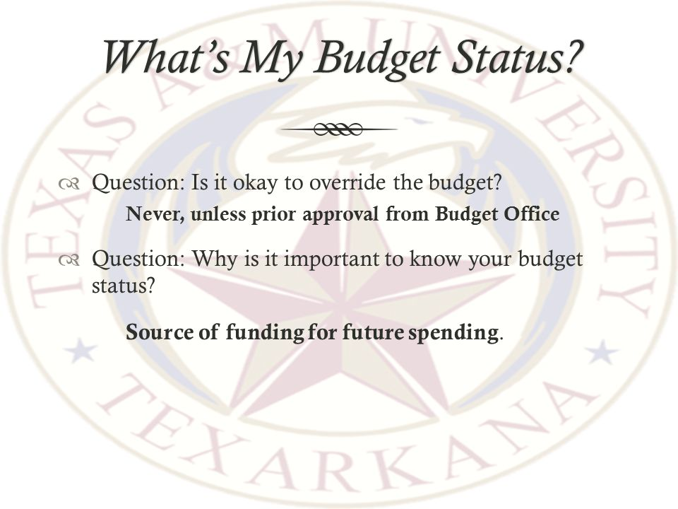 What's My Budget Status What's My Budget Status.  Question: Is it okay to override the budget.