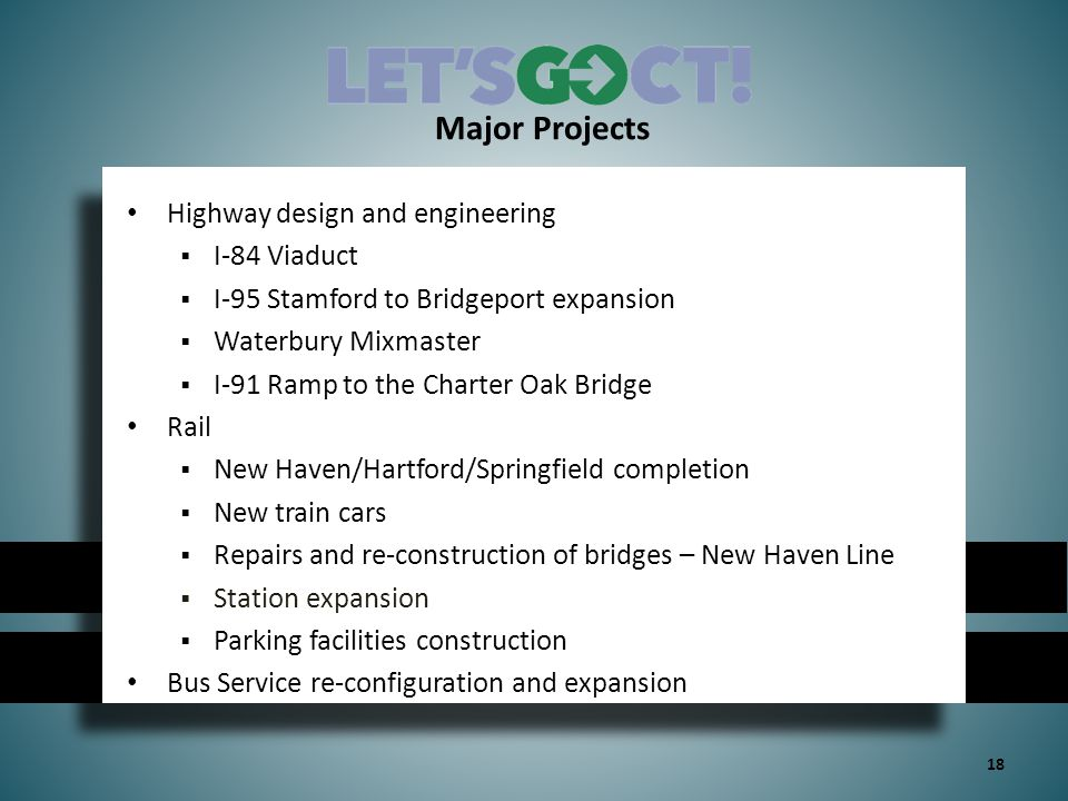 Major Projects Highway design and engineering  I-84 Viaduct  I-95 Stamford to Bridgeport expansion  Waterbury Mixmaster  I-91 Ramp to the Charter Oak Bridge Rail  New Haven/Hartford/Springfield completion  New train cars  Repairs and re-construction of bridges – New Haven Line  Station expansion  Parking facilities construction Bus Service re-configuration and expansion 18