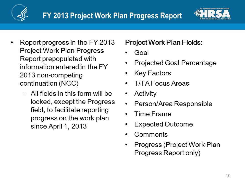 FY 2013 Project Work Plan Progress Report Report progress in the FY 2013 Project Work Plan Progress Report prepopulated with information entered in th