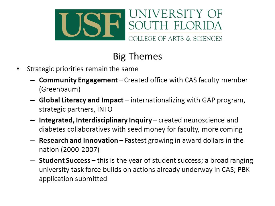 Big Themes (cont.) We are growing through financial adversity – Our CAS Compact plan was well funded—received new faculty, GAs, postdoc and advising lines – Kicked off capital campaign with balanced priorities in the liberal arts and sciences – New space is coming (Patel, ISA, IDRB)