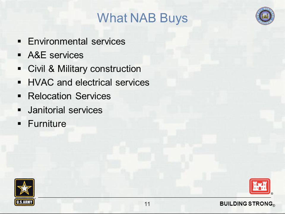 BUILDING STRONG ® What NAB Buys  Environmental services  A&E services  Civil & Military construction  HVAC and electrical services  Relocation Services  Janitorial services  Furniture 11