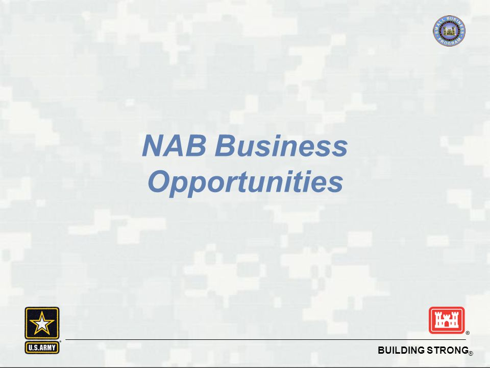 BUILDING STRONG ® NAB Business Opportunities
