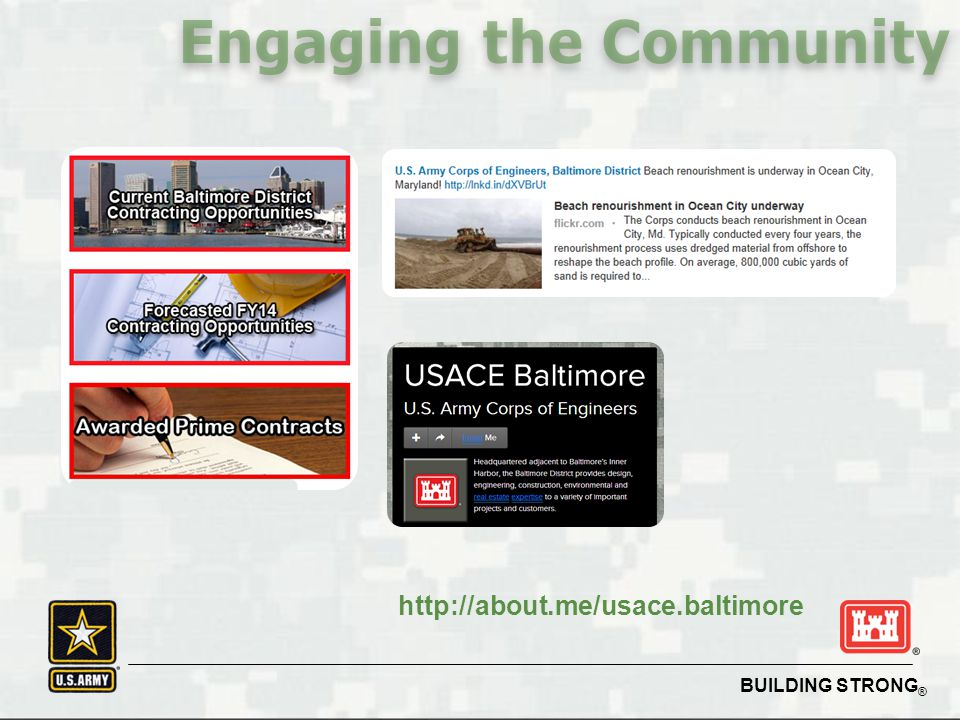 BUILDING STRONG ® Engaging the Community http://about.me/usace.baltimore