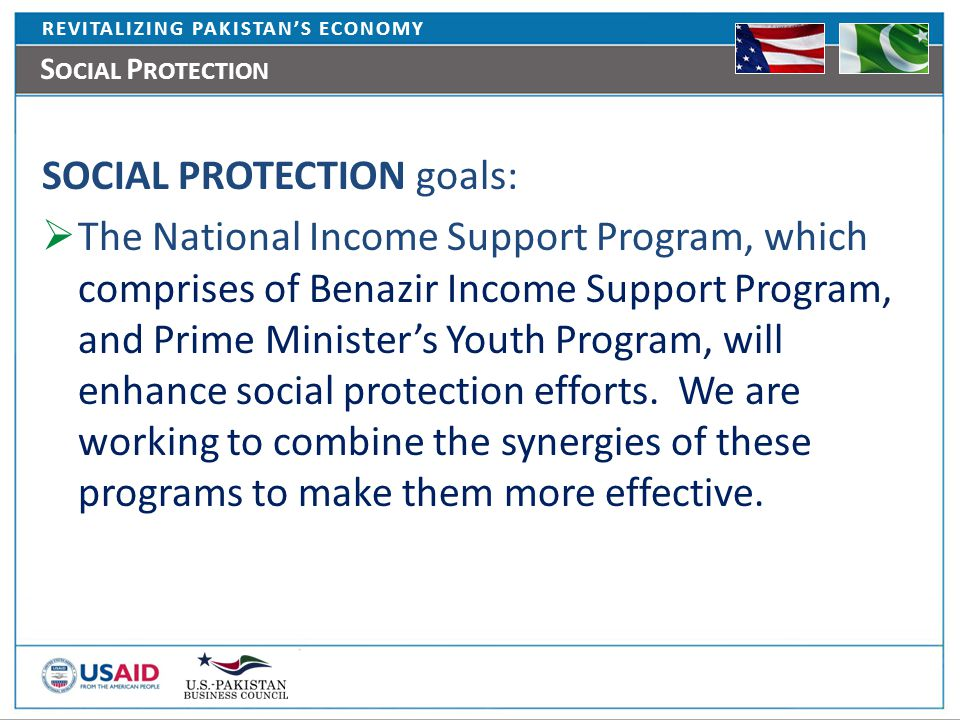 REVITALIZING PAKISTAN'S ECONOMY S OCIAL P ROTECTION SOCIAL PROTECTION goals:  The National Income Support Program, which comprises of Benazir Income Support Program, and Prime Minister's Youth Program, will enhance social protection efforts.