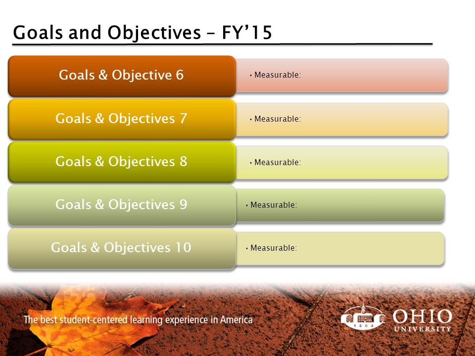 Goals and Objectives – FY'15 Measurable: Goals & Objective 6 Measurable: Goals & Objectives 7 Measurable: Goals & Objectives 8 Measurable: Goals & Obj