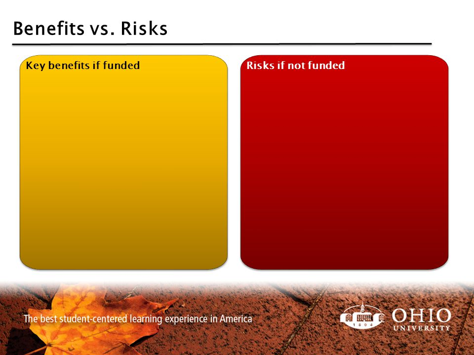 Benefits vs. Risks Key benefits if funded Risks if not funded
