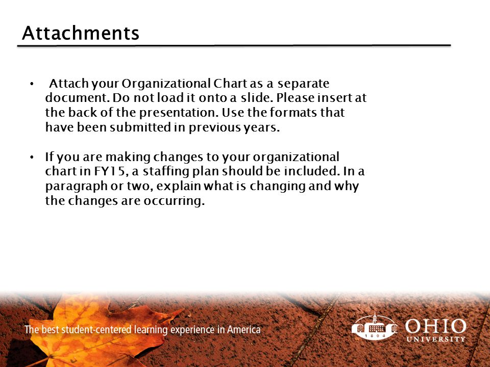 Attachments Attach your Organizational Chart as a separate document.