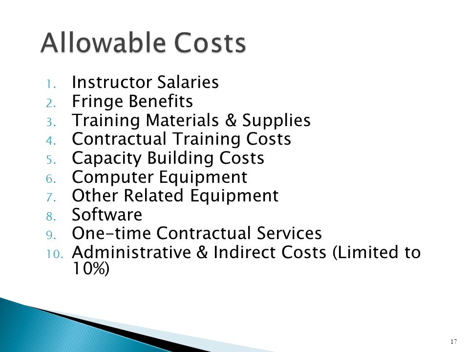 1. Instructor Salaries 2. Fringe Benefits 3. Training Materials & Supplies 4.