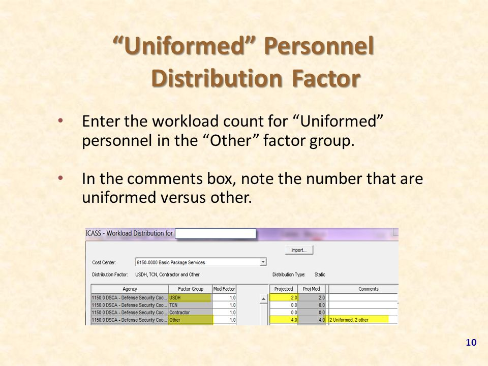 """Uniformed"" Personnel Distribution Factor Enter the workload count for ""Uniformed"" personnel in the ""Other"" factor group. In the comments box, note th"