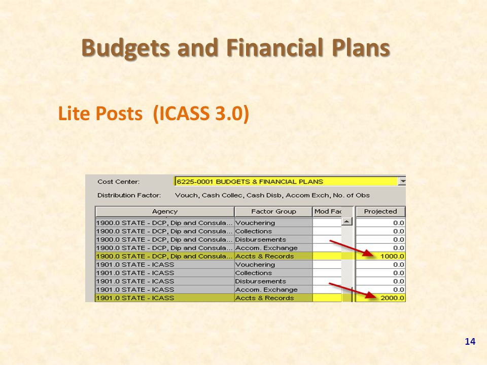 Budgets and Financial Plans Lite Posts (ICASS 3.0) 14