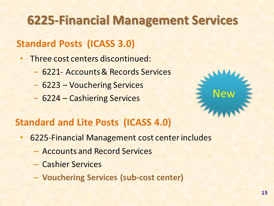 6225-Financial Management Services Three cost centers discontinued: ‒6221- Accounts & Records Services ‒6223 – Vouchering Services ‒6224 – Cashiering
