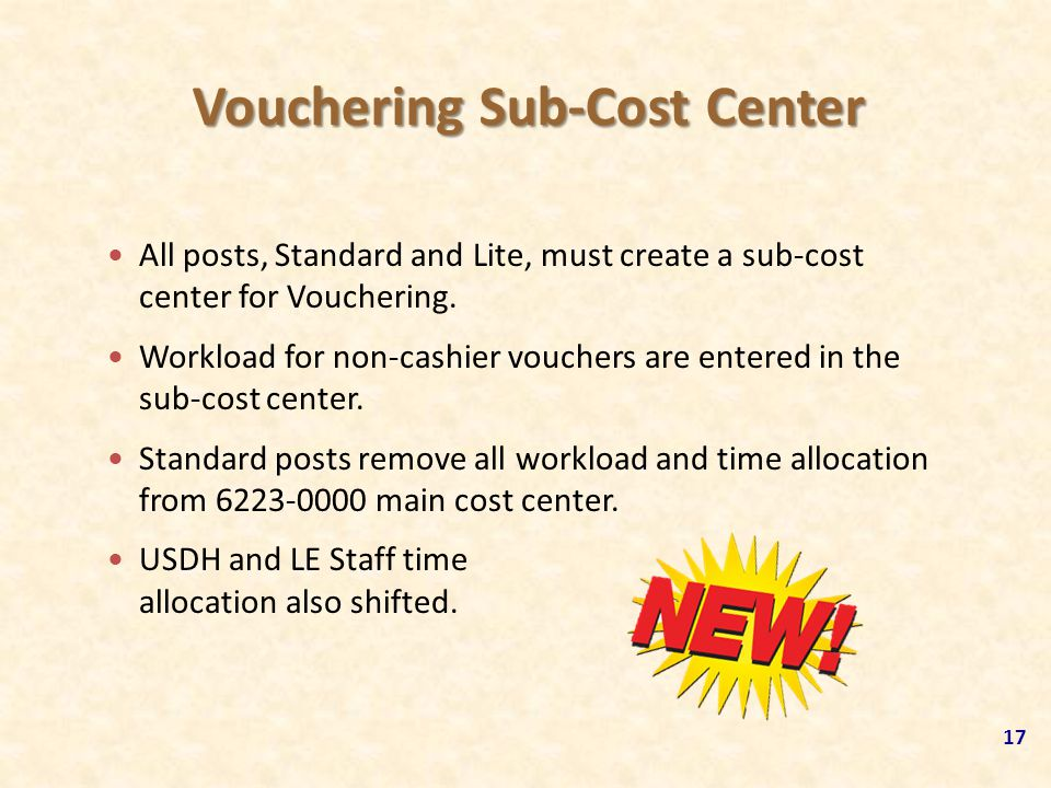 Vouchering Sub-Cost Center 17 All posts, Standard and Lite, must create a sub-cost center for Vouchering. Workload for non-cashier vouchers are entere