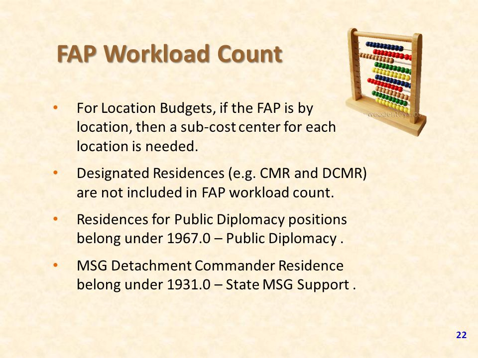 FAP Workload Count 22 For Location Budgets, if the FAP is by location, then a sub-cost center for each location is needed. Designated Residences (e.g.