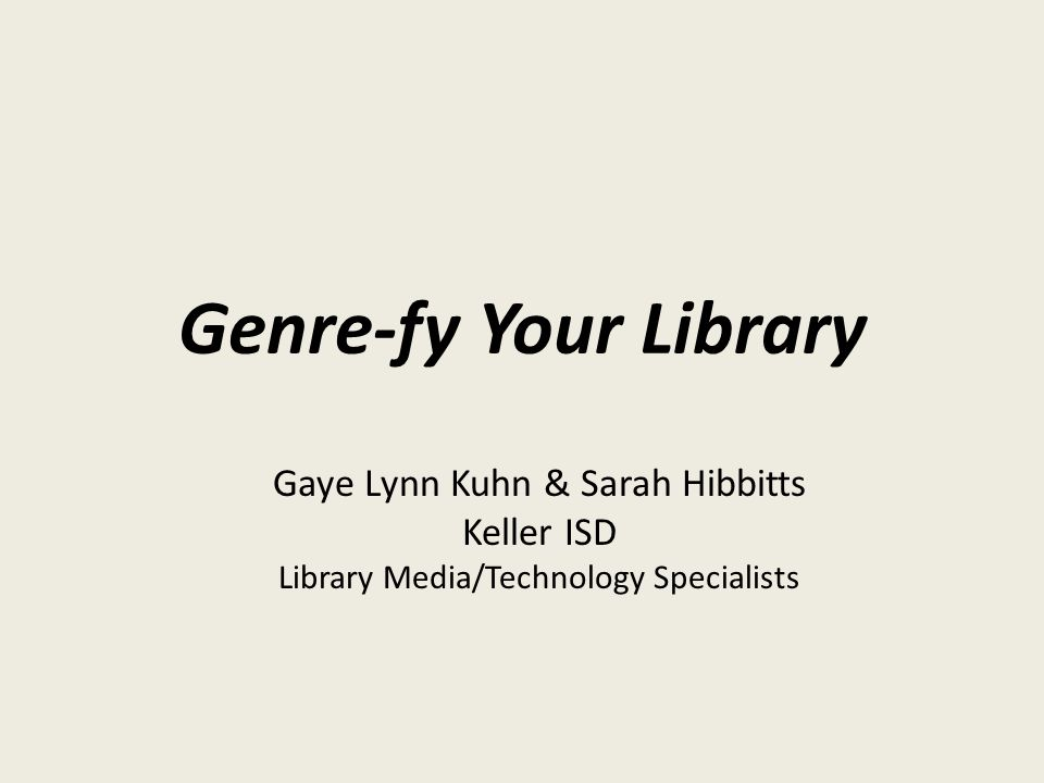 Why not genre-fy?