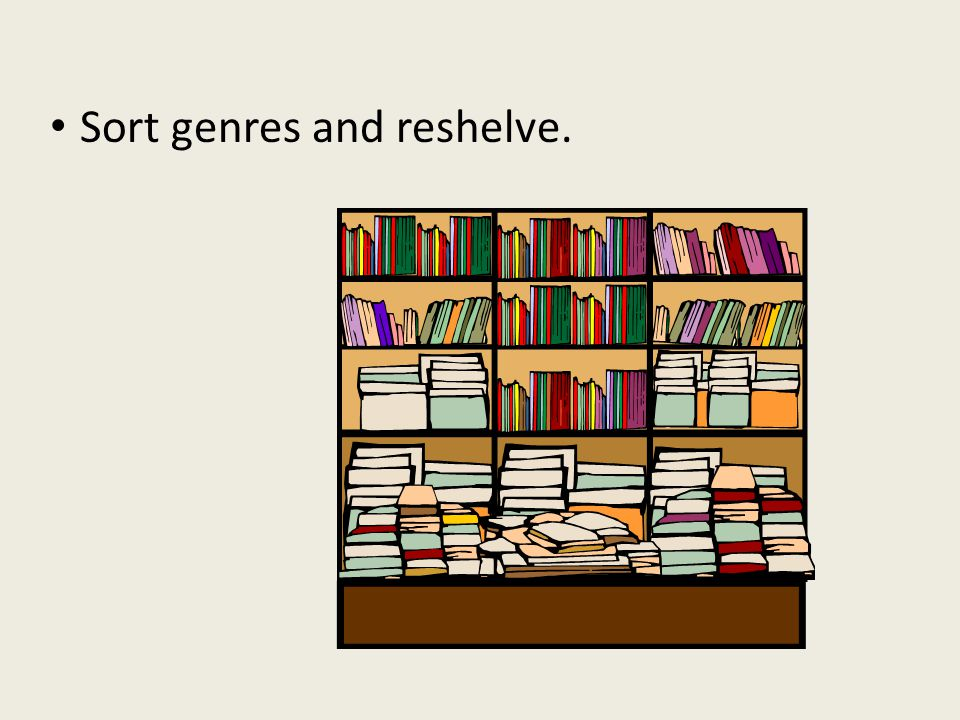 Sort genres and reshelve.