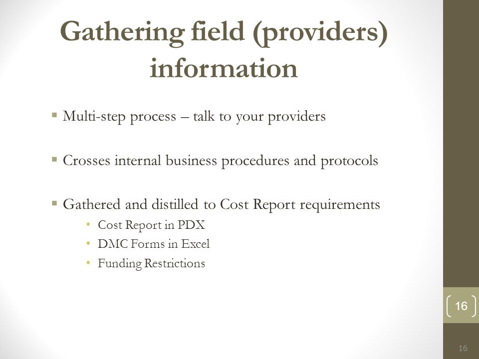 Gathering field (providers) information  Multi-step process – talk to your providers  Crosses internal business procedures and protocols  Gathered and distilled to Cost Report requirements Cost Report in PDX DMC Forms in Excel Funding Restrictions 16