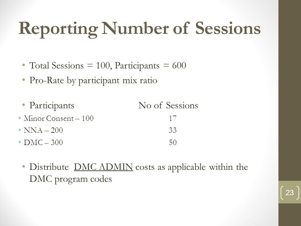 Reporting Number of Sessions Total Sessions = 100, Participants = 600 Pro-Rate by participant mix ratio ParticipantsNo of Sessions Minor Consent – 100