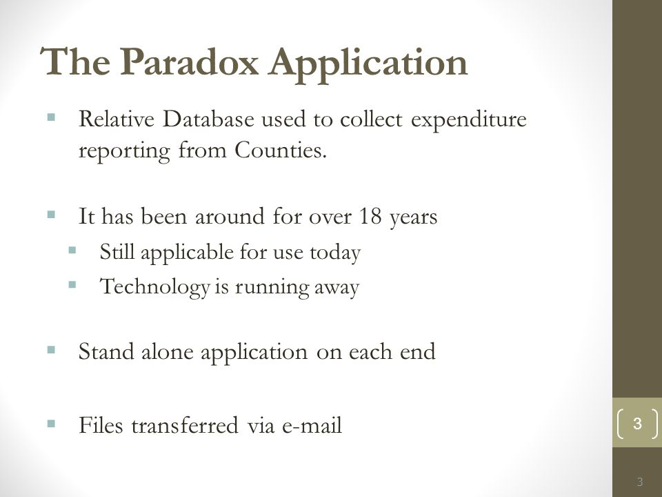 The Paradox Application  Relative Database used to collect expenditure reporting from Counties.