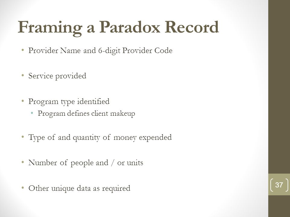 Framing a Paradox Record Provider Name and 6-digit Provider Code Service provided Program type identified Program defines client makeup Type of and quantity of money expended Number of people and / or units Other unique data as required 37