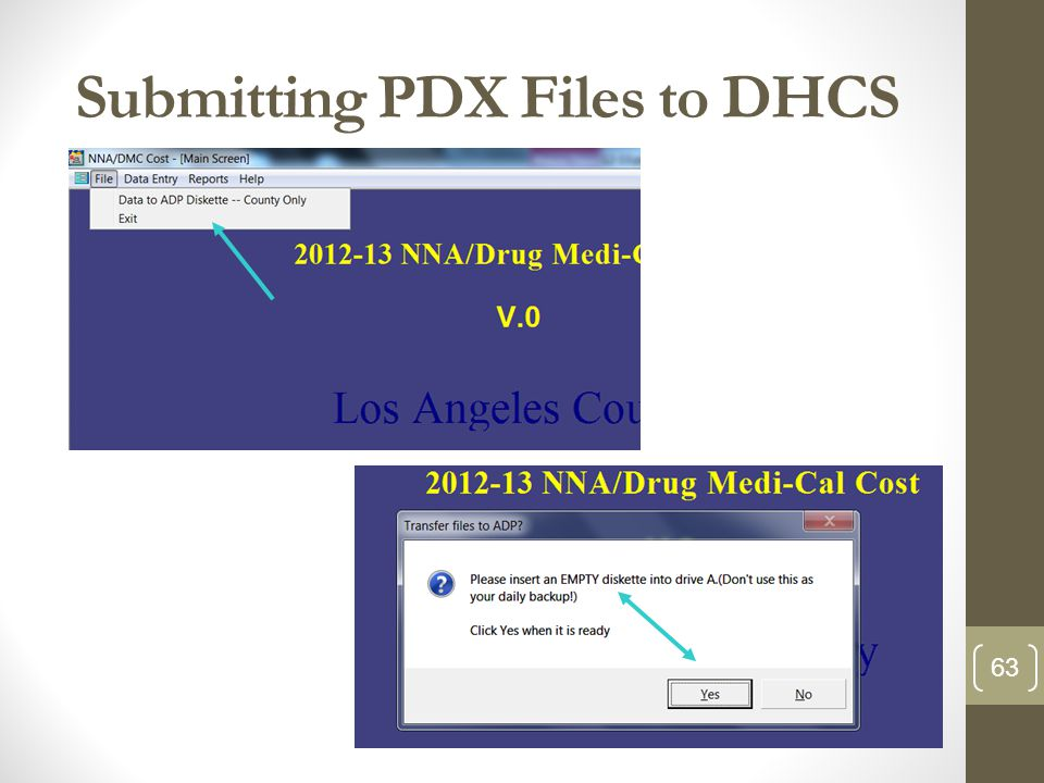 Submitting PDX Files to DHCS 63