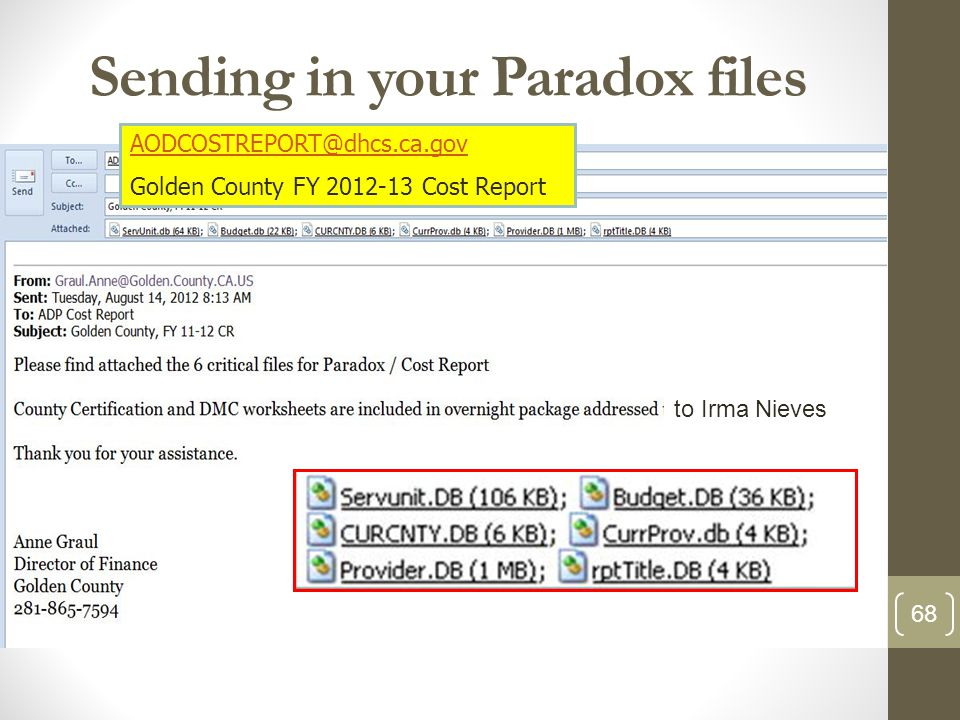 Sending in your Paradox files 68 AODCOSTREPORT@dhcs.ca.gov Golden County FY 2012-13 Cost Report to Irma Nieves