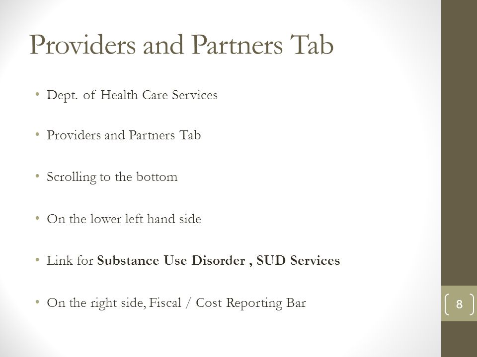 Providers and Partners Tab Dept.